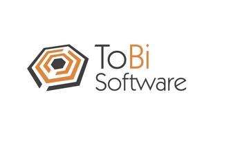 Logo Tobisoftware - 4 Offene verschachtelte 6 Ecke in den Farben Orange und dunkelbraun.