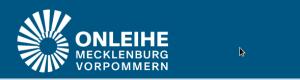 Weißes Logo der Onleihe Mecklenburg-Vorpommern auf blauem Hintergrund